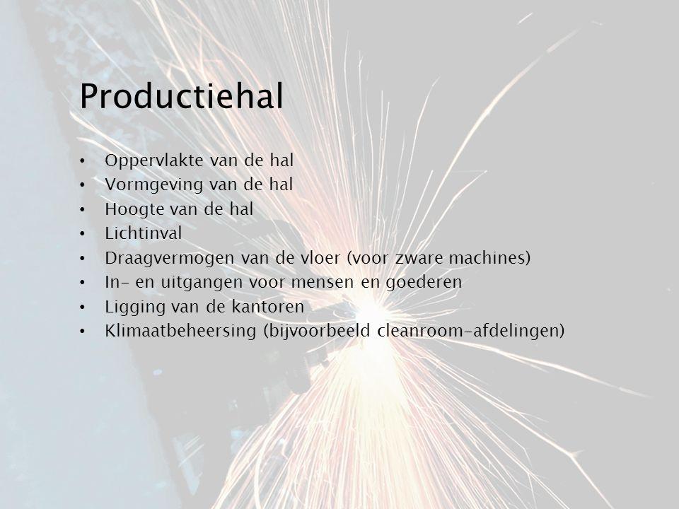 Productiehal Oppervlakte van de hal Vormgeving van de hal Hoogte van de hal Lichtinval Draagvermogen van de vloer (voor zware machines) In- en uitgang