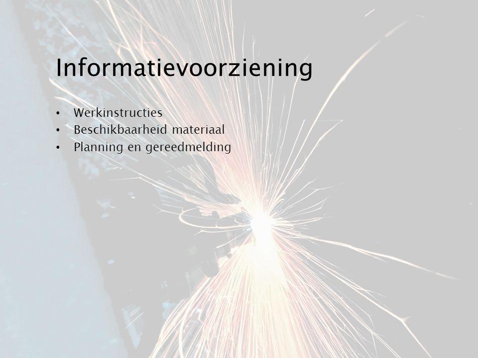 Informatievoorziening Werkinstructies Beschikbaarheid materiaal Planning en gereedmelding