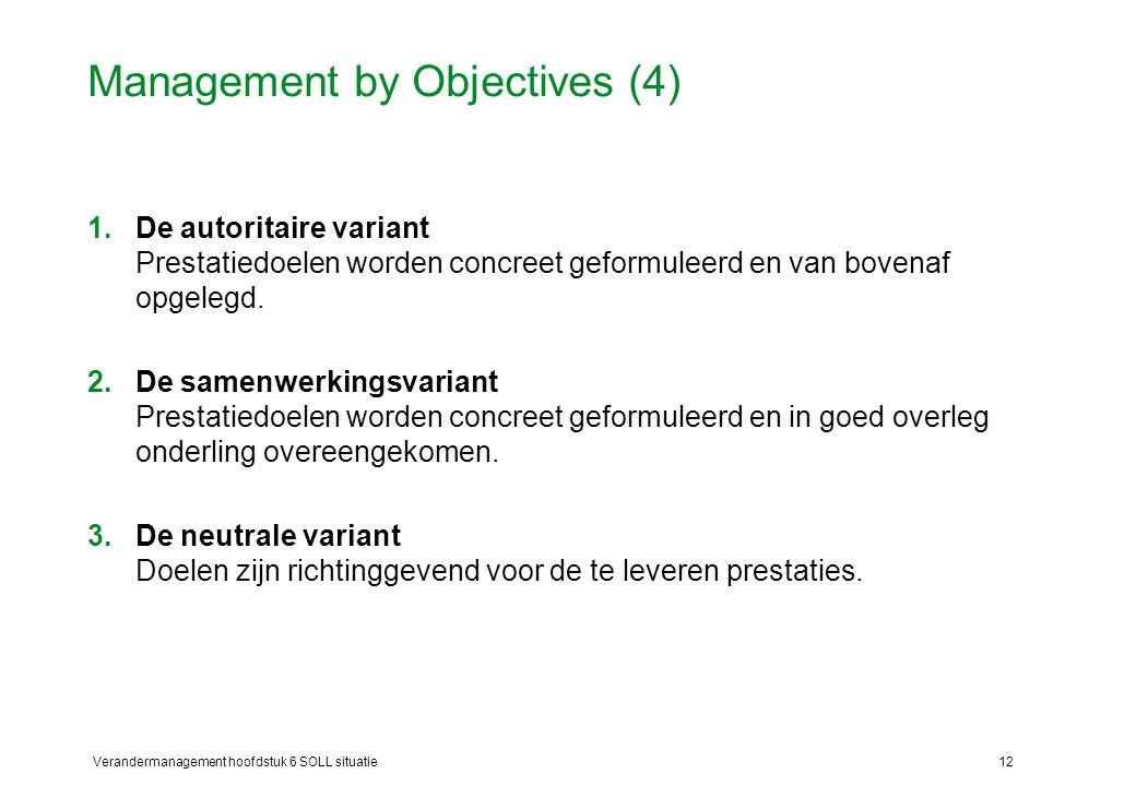 Verandermanagement hoofdstuk 6 SOLL situatie12 Management by Objectives (4) 1.De autoritaire variant Prestatiedoelen worden concreet geformuleerd en v