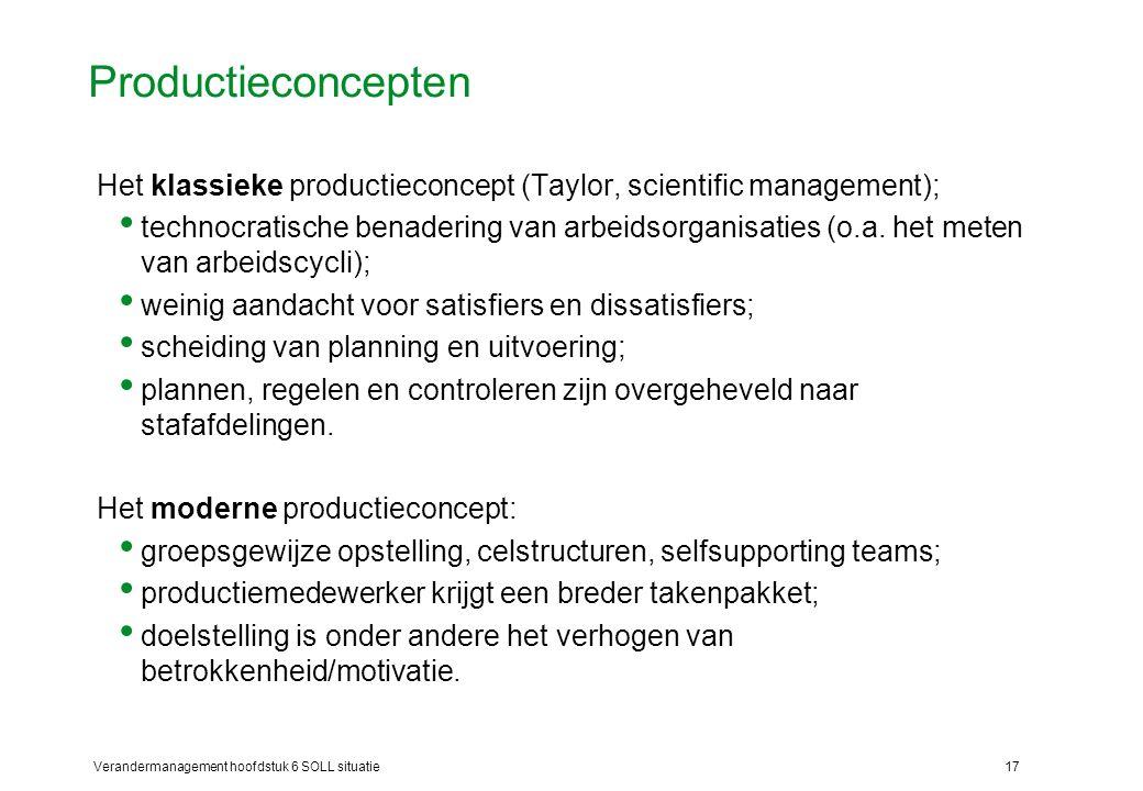 Verandermanagement hoofdstuk 6 SOLL situatie17 Productieconcepten Het klassieke productieconcept (Taylor, scientific management); technocratische bena