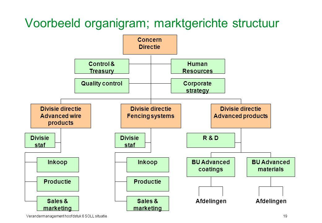 Verandermanagement hoofdstuk 6 SOLL situatie19 Voorbeeld organigram; marktgerichte structuur Concern Directie Control & Treasury Human Resources Divis