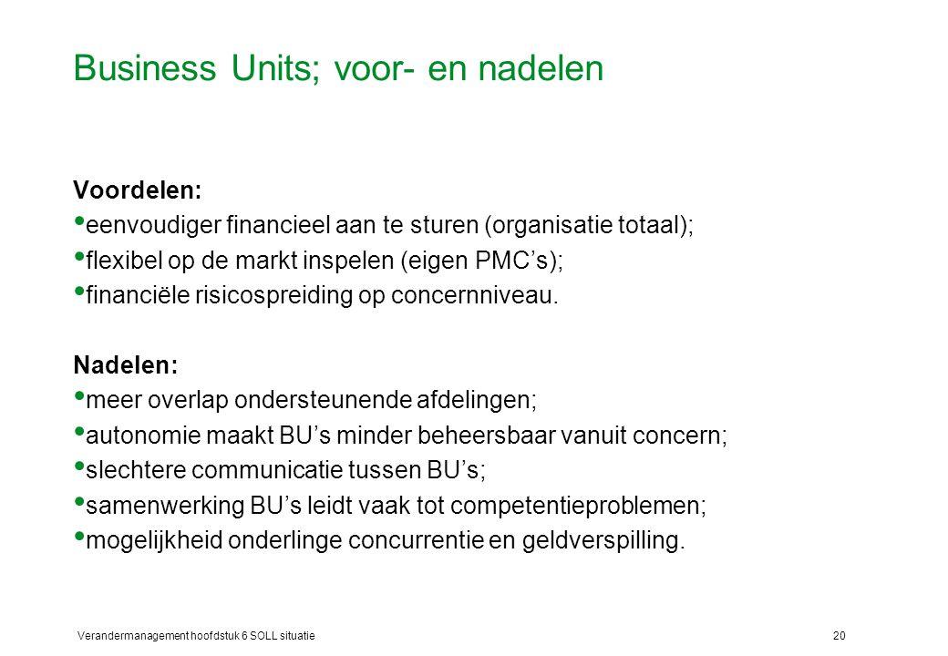 Verandermanagement hoofdstuk 6 SOLL situatie20 Business Units; voor- en nadelen Voordelen: eenvoudiger financieel aan te sturen (organisatie totaal);
