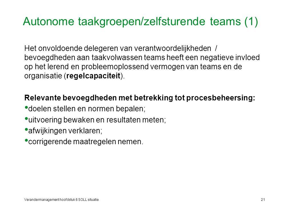 Verandermanagement hoofdstuk 6 SOLL situatie21 Autonome taakgroepen/zelfsturende teams (1) Het onvoldoende delegeren van verantwoordelijkheden / bevoe