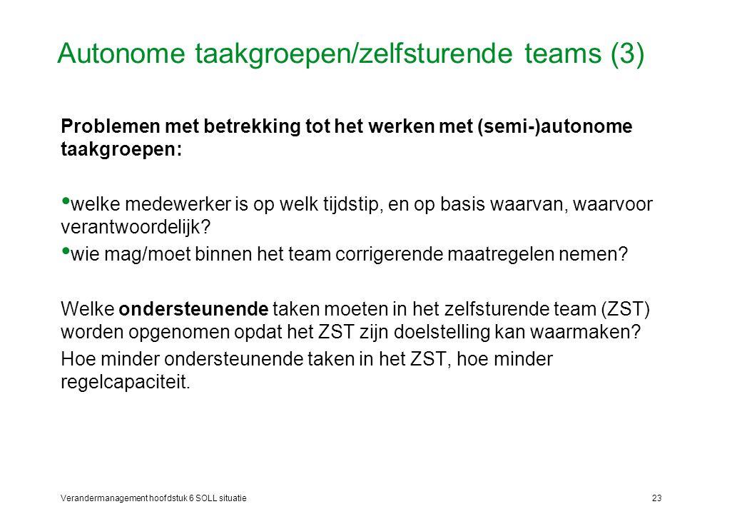Verandermanagement hoofdstuk 6 SOLL situatie23 Autonome taakgroepen/zelfsturende teams (3) Problemen met betrekking tot het werken met (semi-)autonome