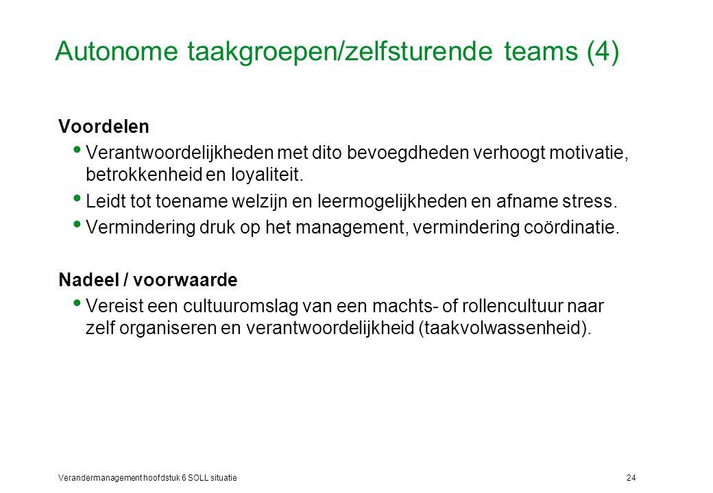 Verandermanagement hoofdstuk 6 SOLL situatie24 Autonome taakgroepen/zelfsturende teams (4) Voordelen Verantwoordelijkheden met dito bevoegdheden verho