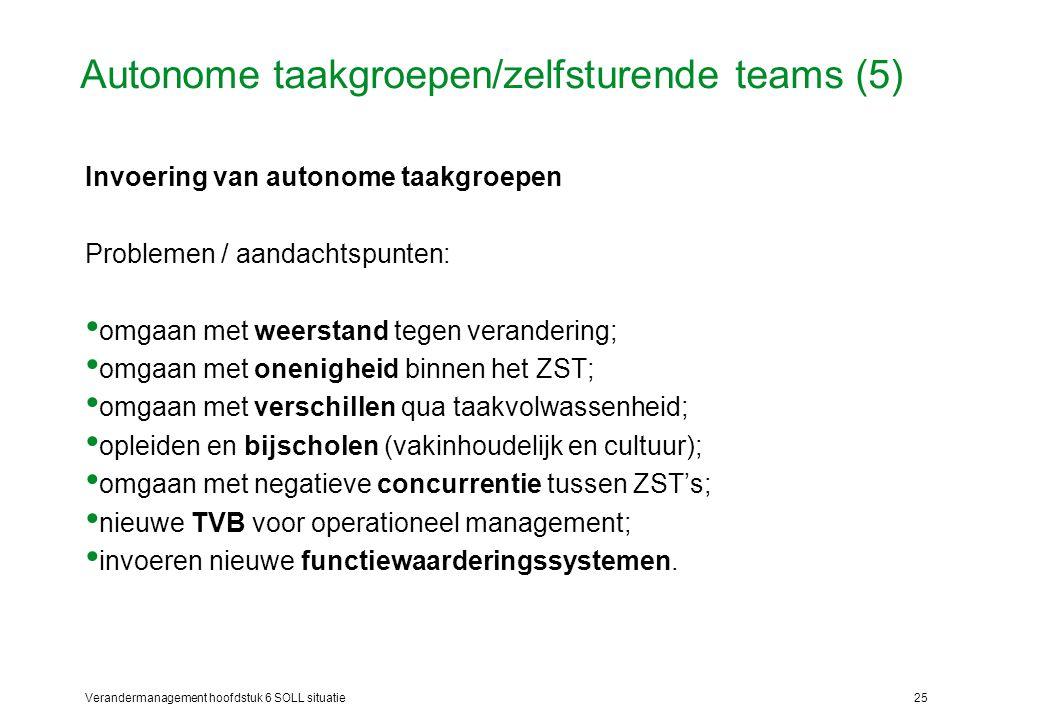 Verandermanagement hoofdstuk 6 SOLL situatie25 Autonome taakgroepen/zelfsturende teams (5) Invoering van autonome taakgroepen Problemen / aandachtspun