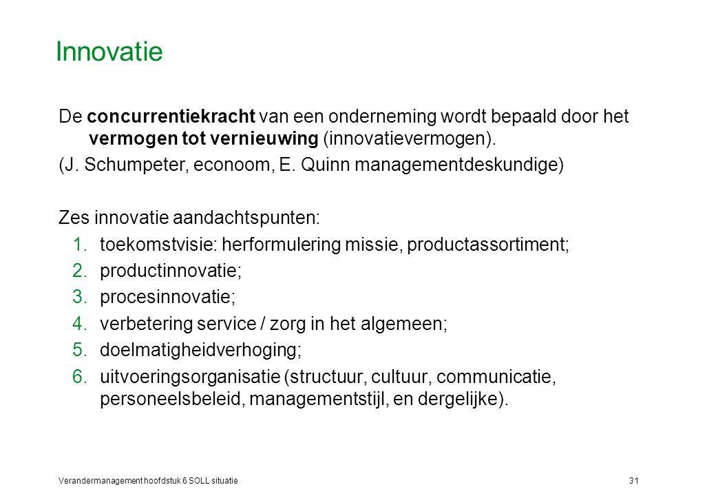 Verandermanagement hoofdstuk 6 SOLL situatie31 Innovatie De concurrentiekracht van een onderneming wordt bepaald door het vermogen tot vernieuwing (in