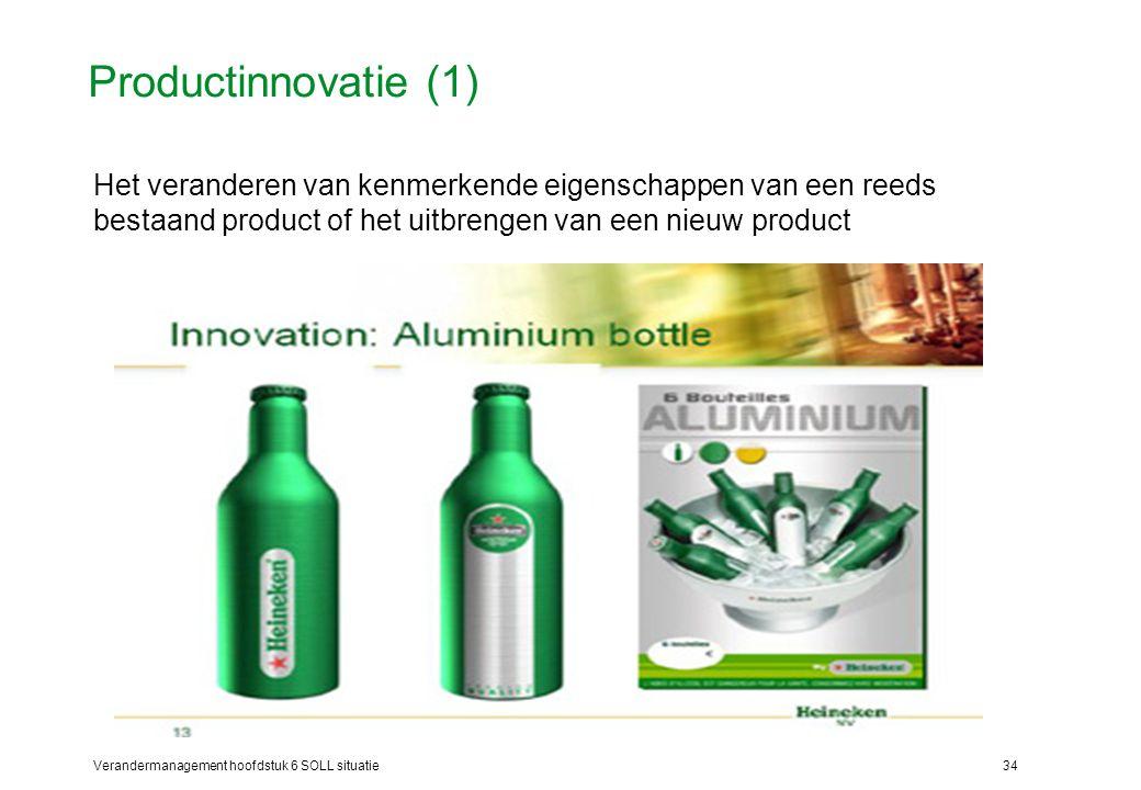 Verandermanagement hoofdstuk 6 SOLL situatie34 Productinnovatie (1) Het veranderen van kenmerkende eigenschappen van een reeds bestaand product of het