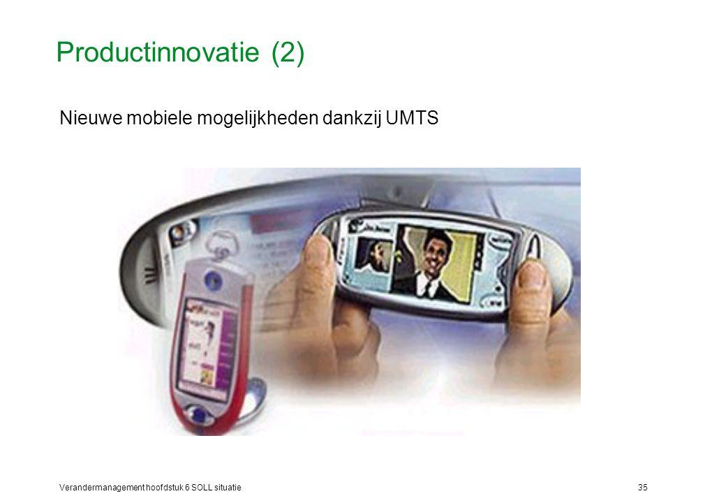 Verandermanagement hoofdstuk 6 SOLL situatie35 Productinnovatie (2) Nieuwe mobiele mogelijkheden dankzij UMTS