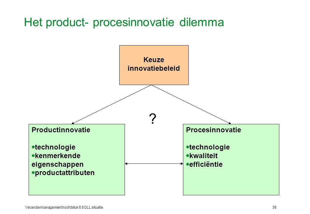 Verandermanagement hoofdstuk 6 SOLL situatie36 Het product- procesinnovatie dilemma Keuze innovatiebeleid Productinnovatie  technologie  kenmerkende