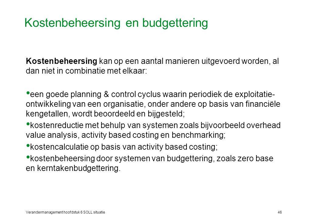 Verandermanagement hoofdstuk 6 SOLL situatie46 Kostenbeheersing en budgettering Kostenbeheersing kan op een aantal manieren uitgevoerd worden, al dan