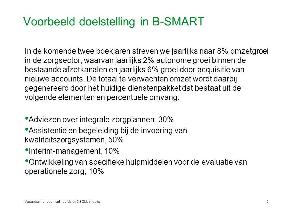 Verandermanagement hoofdstuk 6 SOLL situatie5 Voorbeeld doelstelling in B-SMART In de komende twee boekjaren streven we jaarlijks naar 8% omzetgroei i