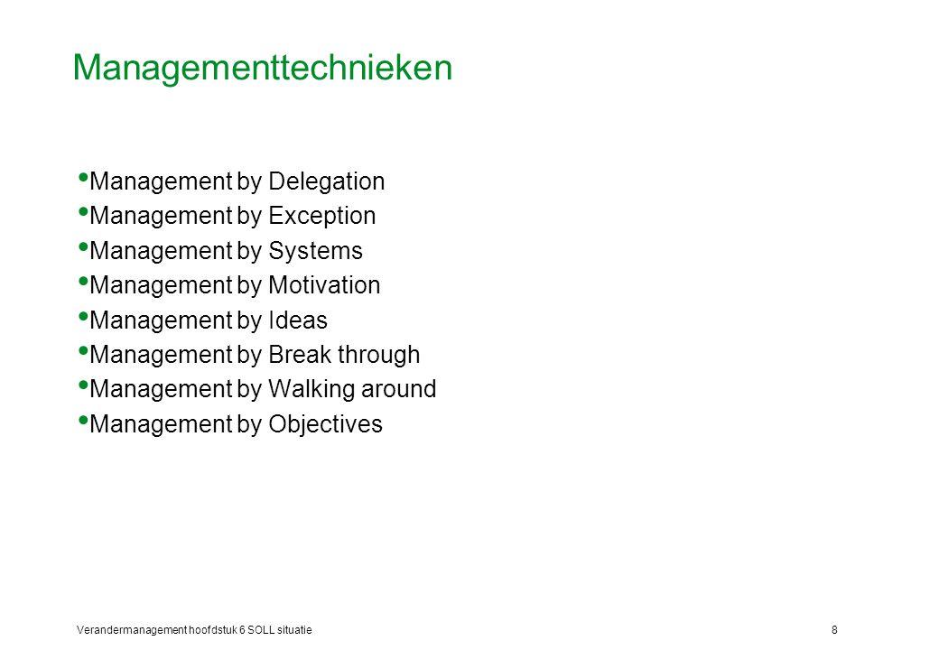 Verandermanagement hoofdstuk 6 SOLL situatie8 Managementtechnieken Management by Delegation Management by Exception Management by Systems Management b