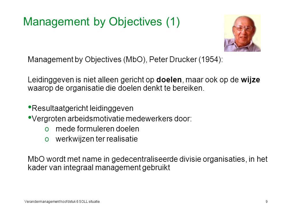Verandermanagement hoofdstuk 6 SOLL situatie9 Management by Objectives (1) Management by Objectives (MbO), Peter Drucker (1954): Leidinggeven is niet
