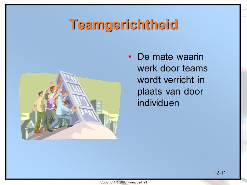12-11 Copyright © 2005 Prentice-Hall Teamgerichtheid De mate waarin werk door teams wordt verricht in plaats van door individuen