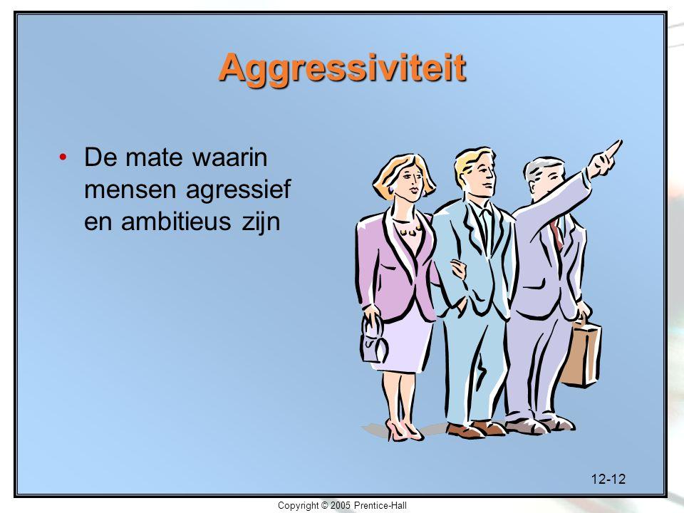 12-12 Copyright © 2005 Prentice-Hall Aggressiviteit De mate waarin mensen agressief en ambitieus zijn