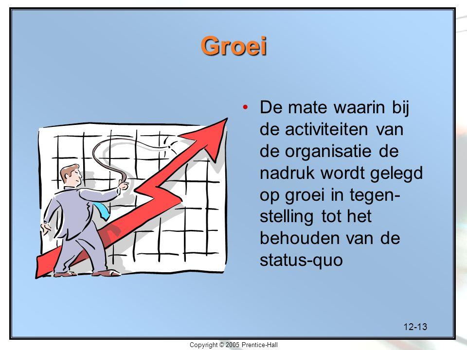 12-13 Copyright © 2005 Prentice-Hall Groei De mate waarin bij de activiteiten van de organisatie de nadruk wordt gelegd op groei in tegen- stelling tot het behouden van de status-quo