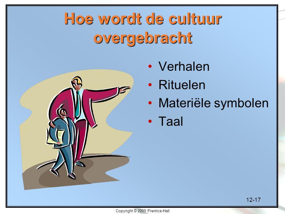 12-17 Copyright © 2005 Prentice-Hall Hoe wordt de cultuur overgebracht Verhalen Rituelen Materiële symbolen Taal