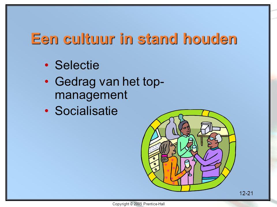 12-21 Copyright © 2005 Prentice-Hall Een cultuur in stand houden Selectie Gedrag van het top- management Socialisatie