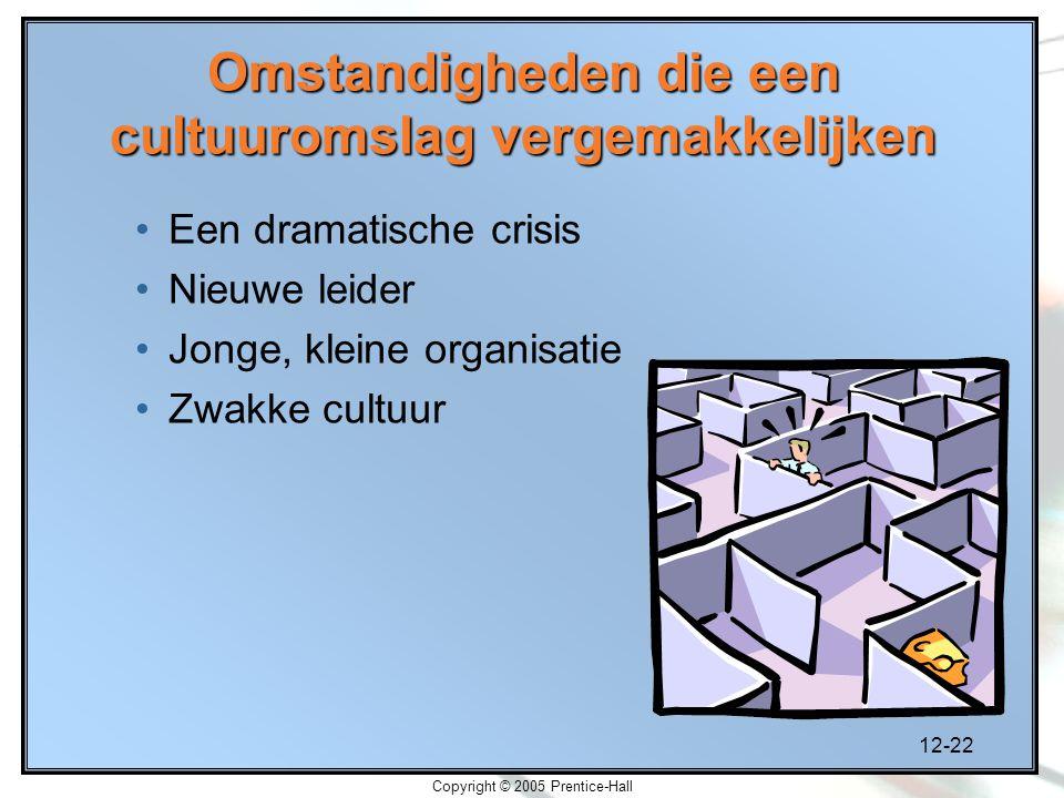 12-22 Copyright © 2005 Prentice-Hall Omstandigheden die een cultuuromslag vergemakkelijken Een dramatische crisis Nieuwe leider Jonge, kleine organisatie Zwakke cultuur