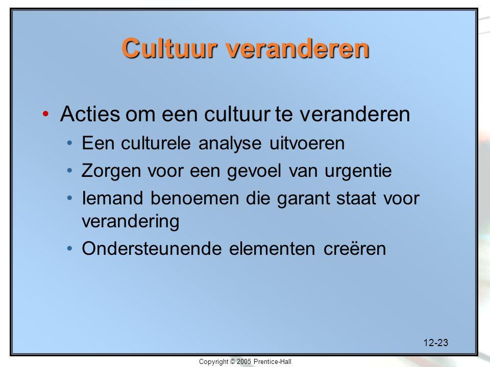 12-23 Copyright © 2005 Prentice-Hall Cultuur veranderen Acties om een cultuur te veranderen Een culturele analyse uitvoeren Zorgen voor een gevoel van urgentie Iemand benoemen die garant staat voor verandering Ondersteunende elementen creëren