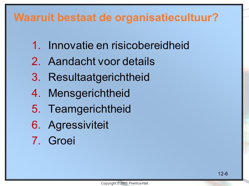 12-6 Copyright © 2005 Prentice-Hall Waaruit bestaat de organisatiecultuur? 1.Innovatie en risicobereidheid 2.Aandacht voor details 3.Resultaatgerichth