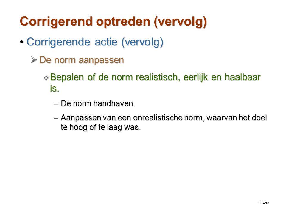 17–18 Corrigerend optreden (vervolg) Corrigerende actie (vervolg)Corrigerende actie (vervolg)  De norm aanpassen  Bepalen of de norm realistisch, ee