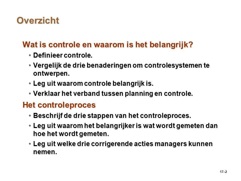 17–2 Overzicht Wat is controle en waarom is het belangrijk? Definieer controle.Definieer controle. Vergelijk de drie benaderingen om controlesystemen