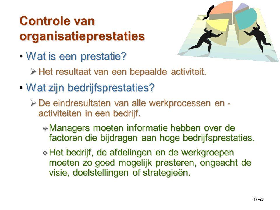 17–20 Controle van organisatieprestaties Wat is een prestatie?Wat is een prestatie?  Het resultaat van een bepaalde activiteit. Wat zijn bedrijfspres
