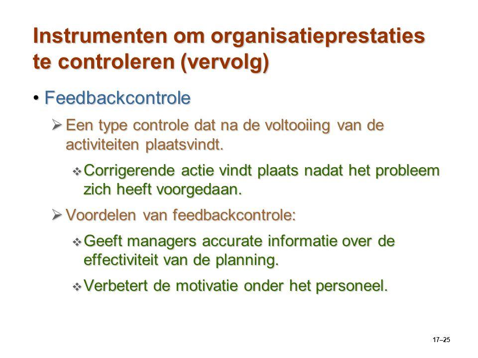 17–25 Instrumenten om organisatieprestaties te controleren (vervolg) FeedbackcontroleFeedbackcontrole  Een type controle dat na de voltooiing van de