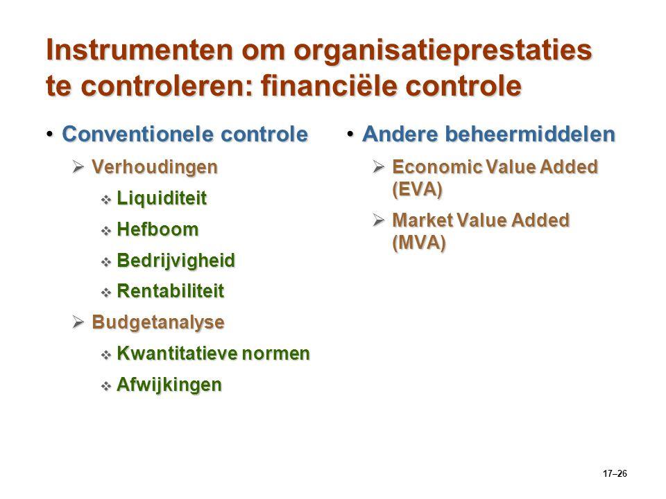 17–26 Instrumenten om organisatieprestaties te controleren: financiële controle Conventionele controleConventionele controle  Verhoudingen  Liquidit