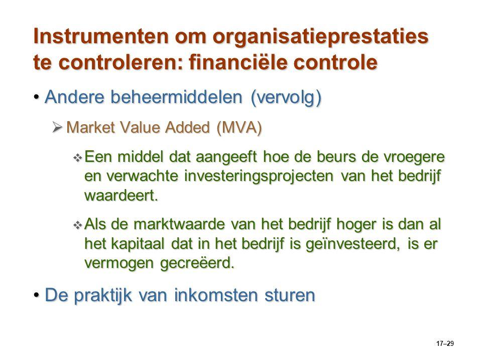 17–29 Instrumenten om organisatieprestaties te controleren: financiële controle Andere beheermiddelen (vervolg)Andere beheermiddelen (vervolg)  Marke