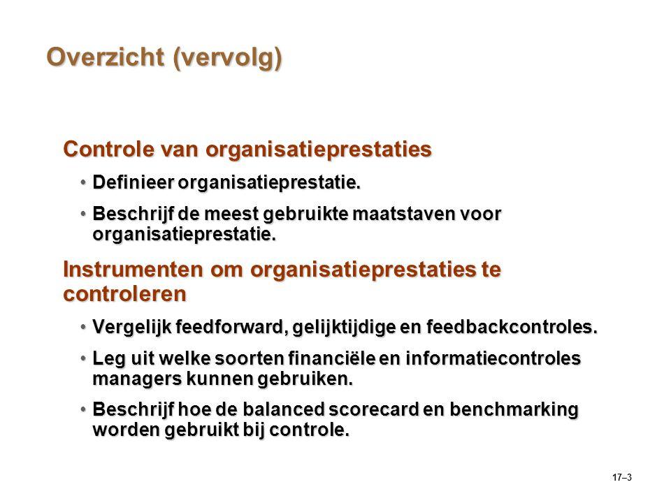 17–3 Overzicht (vervolg) Controle van organisatieprestaties Definieer organisatieprestatie.Definieer organisatieprestatie. Beschrijf de meest gebruikt