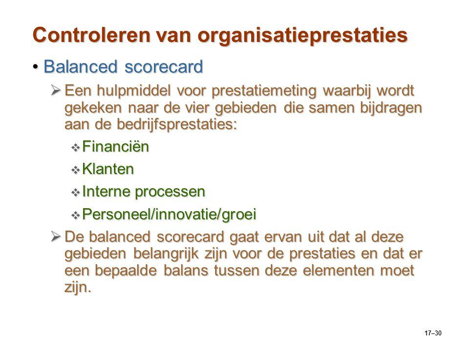 17–30 Controleren van organisatieprestaties Balanced scorecardBalanced scorecard  Een hulpmiddel voor prestatiemeting waarbij wordt gekeken naar de v