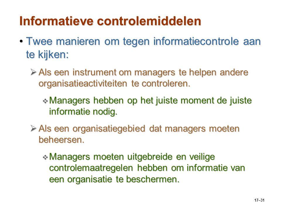 17–31 Informatieve controlemiddelen Twee manieren om tegen informatiecontrole aan te kijken:Twee manieren om tegen informatiecontrole aan te kijken: 
