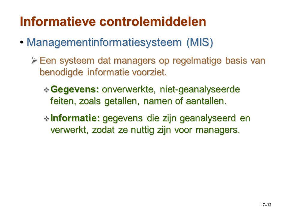 17–32 Informatieve controlemiddelen Managementinformatiesysteem (MIS)Managementinformatiesysteem (MIS)  Een systeem dat managers op regelmatige basis