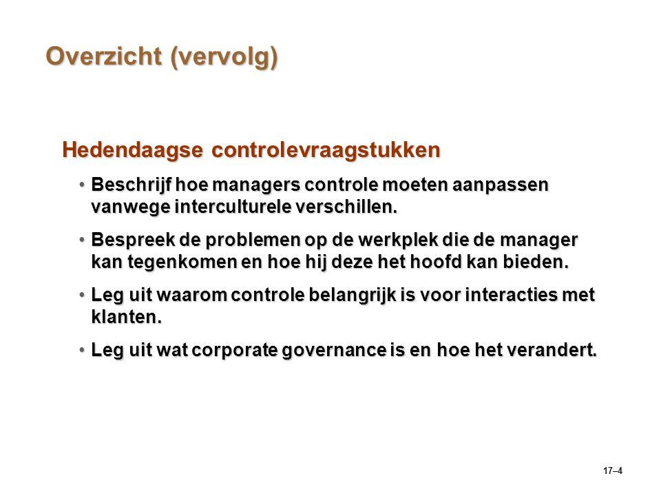 17–4 Overzicht (vervolg) Hedendaagse controlevraagstukken Beschrijf hoe managers controle moeten aanpassen vanwege interculturele verschillen.Beschrij