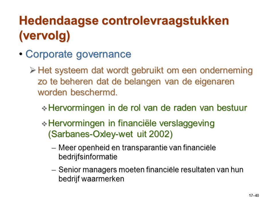 17–40 Hedendaagse controlevraagstukken (vervolg) Corporate governanceCorporate governance  Het systeem dat wordt gebruikt om een onderneming zo te be