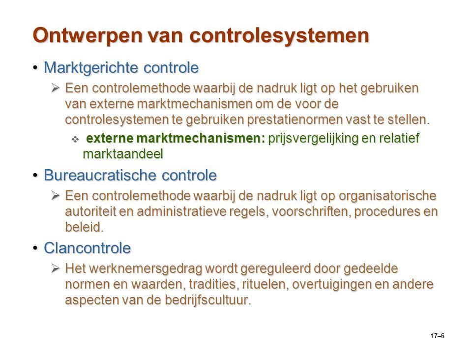 17–6 Ontwerpen van controlesystemen Marktgerichte controleMarktgerichte controle  Een controlemethode waarbij de nadruk ligt op het gebruiken van ext