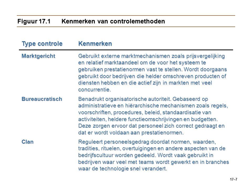 17–7 Figuur 17.1 Kenmerken van controlemethoden Type controle Kenmerken Marktgericht Gebruikt externe marktmechanismen zoals prijsvergelijking en rela