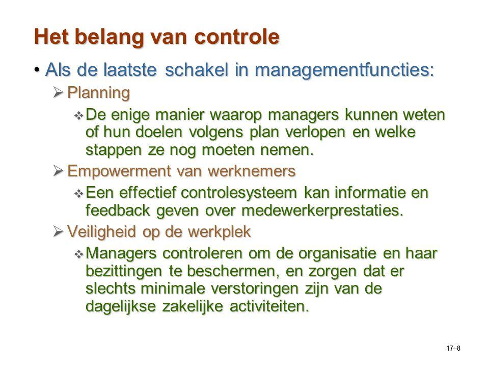 17–8 Het belang van controle Als de laatste schakel in managementfuncties:Als de laatste schakel in managementfuncties:  Planning  De enige manier w