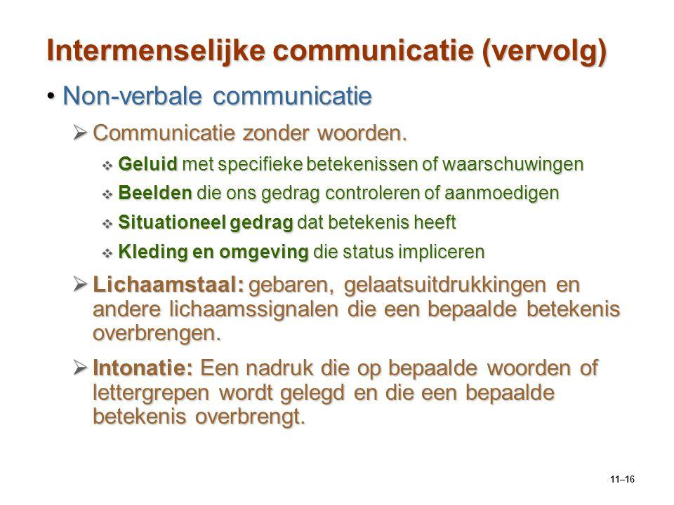 11–16 Intermenselijke communicatie (vervolg) Non-verbale communicatieNon-verbale communicatie  Communicatie zonder woorden.  Geluid met specifieke b
