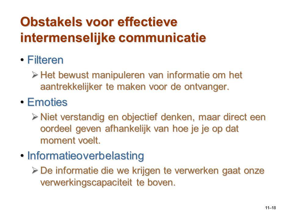 11–18 Obstakels voor effectieve intermenselijke communicatie FilterenFilteren  Het bewust manipuleren van informatie om het aantrekkelijker te maken