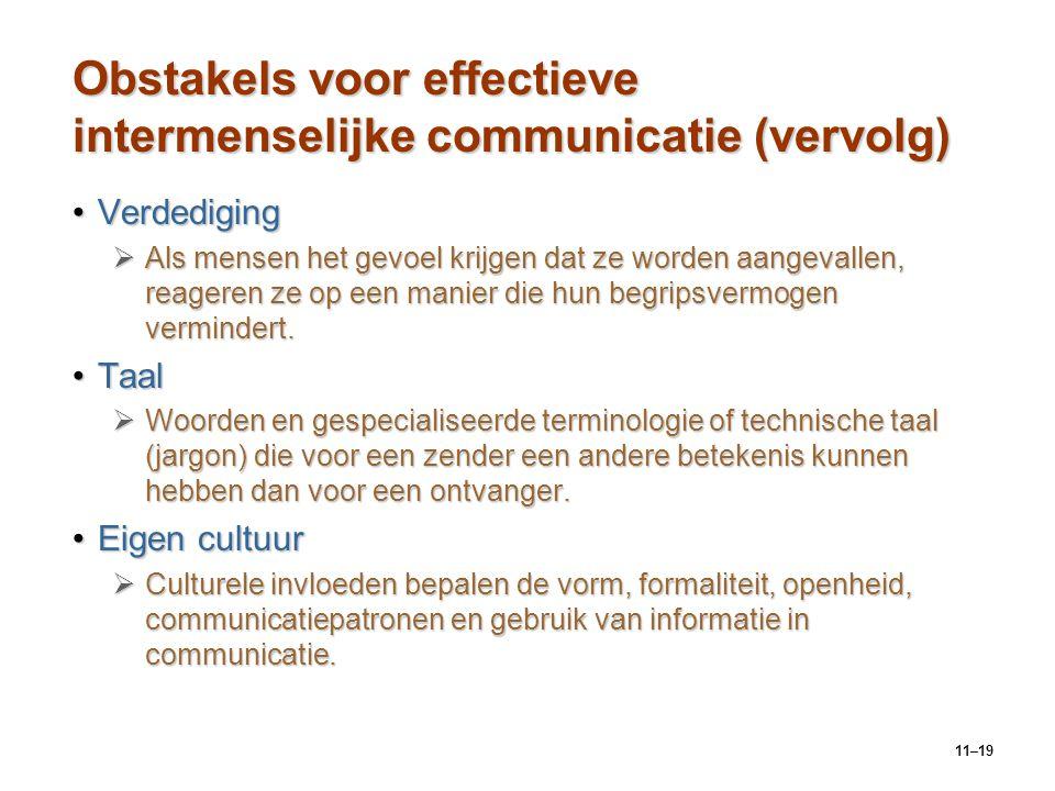 11–19 Obstakels voor effectieve intermenselijke communicatie (vervolg) VerdedigingVerdediging  Als mensen het gevoel krijgen dat ze worden aangevalle
