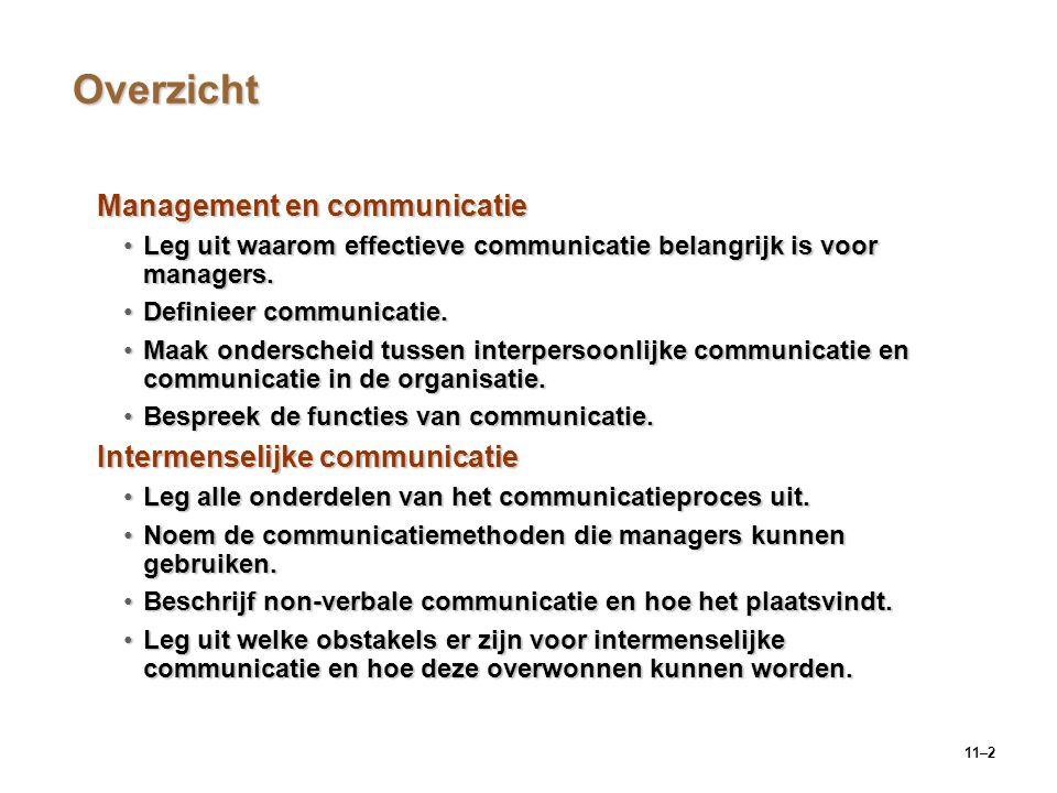 11–2 Overzicht Management en communicatie Leg uit waarom effectieve communicatie belangrijk is voor managers.Leg uit waarom effectieve communicatie be