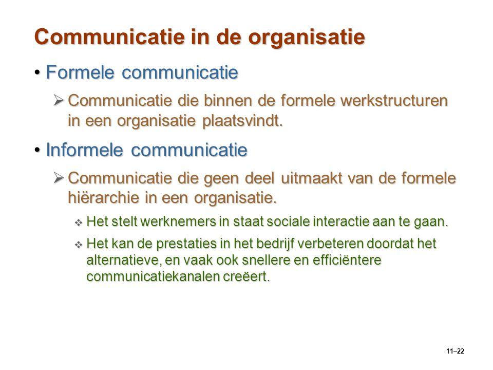 11–22 Communicatie in de organisatie Formele communicatieFormele communicatie  Communicatie die binnen de formele werkstructuren in een organisatie p