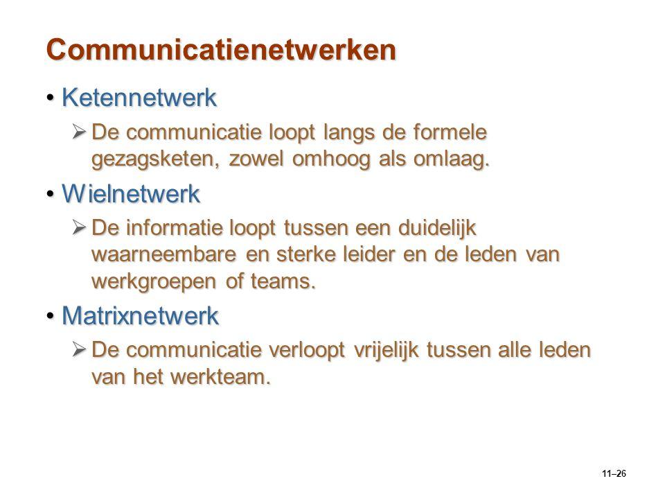 11–26 Communicatienetwerken KetennetwerkKetennetwerk  De communicatie loopt langs de formele gezagsketen, zowel omhoog als omlaag. WielnetwerkWielnet