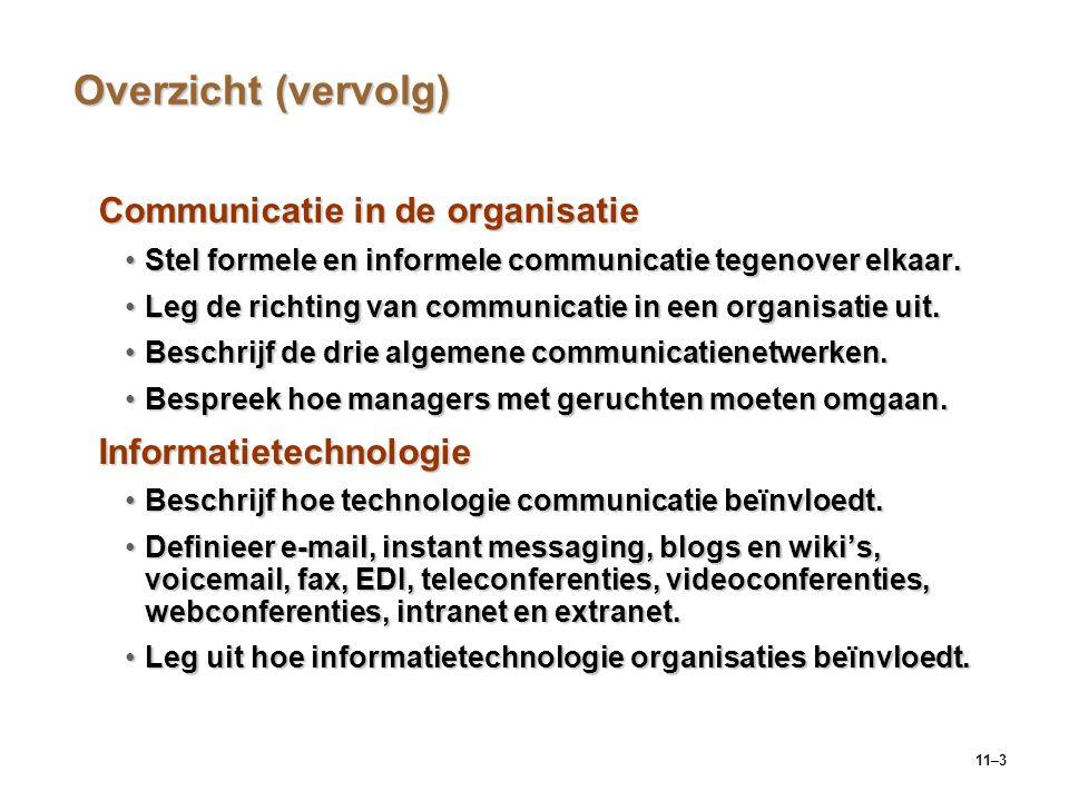 11–3 Overzicht (vervolg) Communicatie in de organisatie Stel formele en informele communicatie tegenover elkaar.Stel formele en informele communicatie