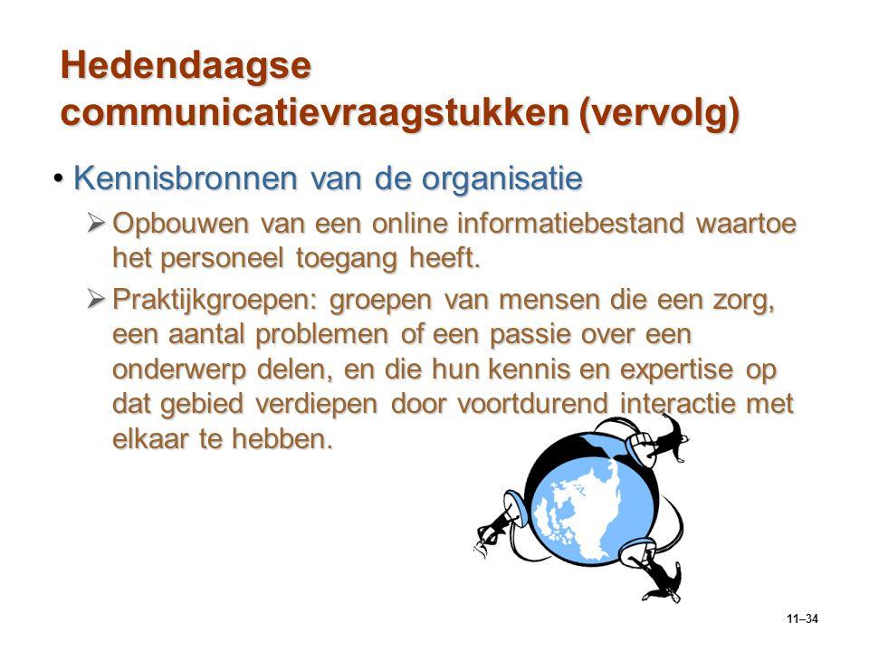 11–34 Hedendaagse communicatievraagstukken (vervolg) Kennisbronnen van de organisatieKennisbronnen van de organisatie  Opbouwen van een online inform