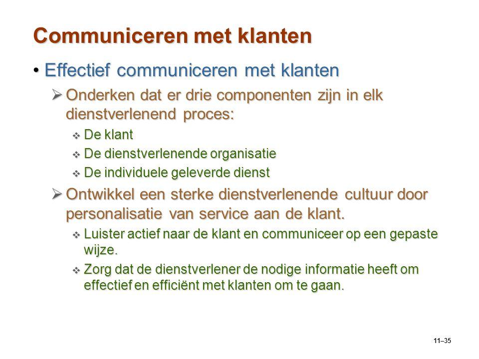 11–35 Communiceren met klanten Effectief communiceren met klantenEffectief communiceren met klanten  Onderken dat er drie componenten zijn in elk die